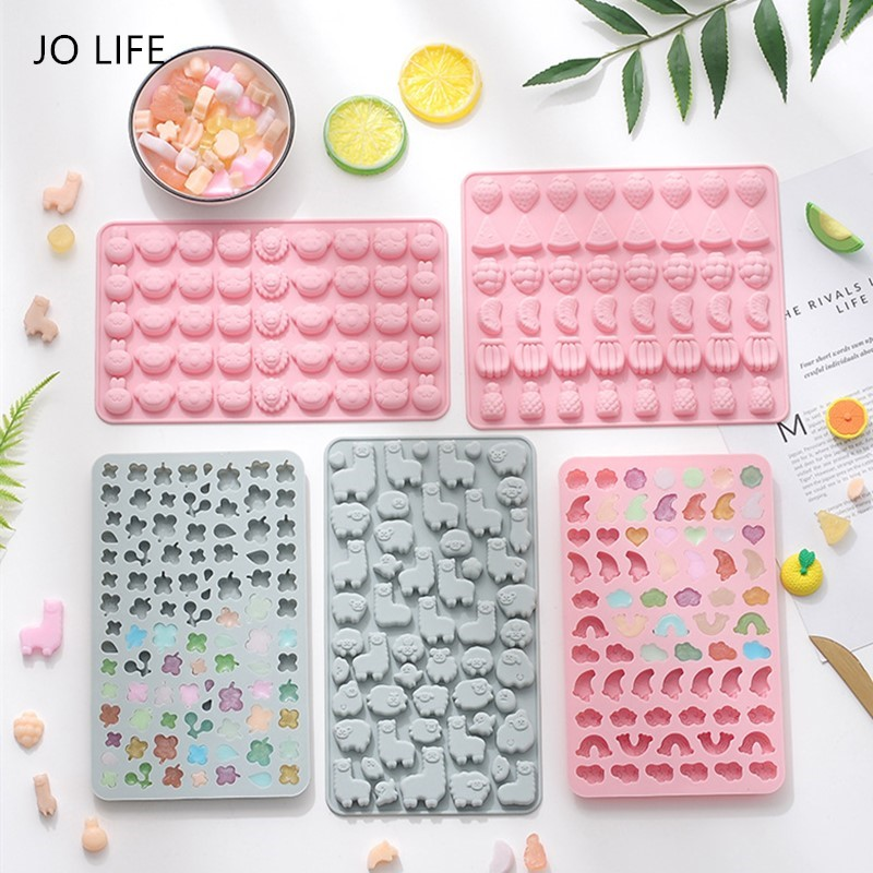 JO LIFE Cartoon Gummy Molds Funny Silicone Candy Chocolate Fruit Animal Sheep Clover Ice Cube Moulds