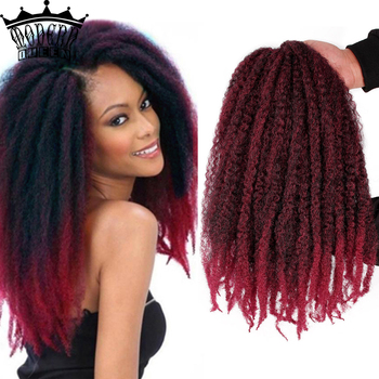 18 inch Ombre Marley Braids Hair Crochet Afro Kinky Synthetic Braiding Hair Crochet Braids Hair Extensions For Black Women saisity micro box braids crochet hair extensions ombre fiber synthetic braiding hair bulk crochet braids