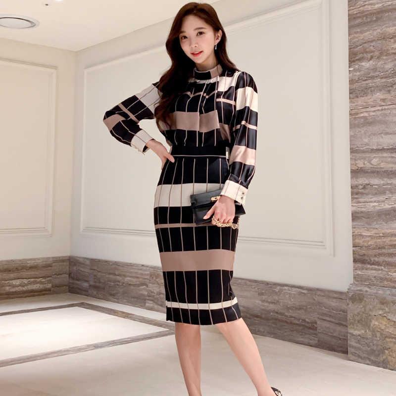 H Han Queen nouveau 2 pièces ensemble femmes 2019 hiver imprimer Plaid géométrique chemises Blouses et taille haute gaine crayon jupes moulantes
