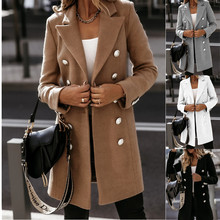 Autumn Winter Women #8217 s Jacket Warm Woolen Coat Office Lady Solid Casual Double Breasted Turn Down Collar Female Jacket Long Coat cheap CN(Origin) Slim Ages 18-35 Years Old Turn-down Collar Open Stitch Full Regular Thick (Winter) Cotton Polyester Button