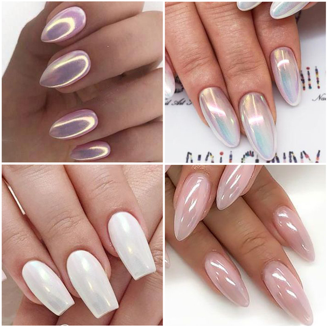 1 Box Pearl Nail Glitter Powder Neon Shimmer Mirror Mermaid Dipping White Purple Nail Chrome Pigment Dust Polish Decor GLB01-07 5