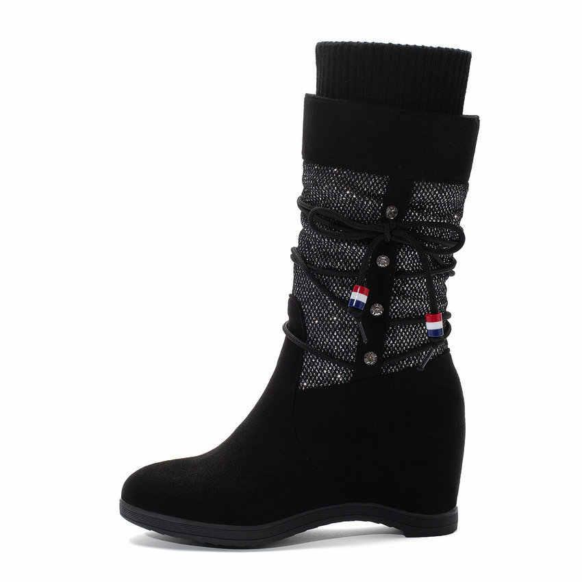 ESVEVA 2020 kadın botları kama yüksek topuk fırçalama örgü orta buzağı çizmeler yuvarlak ayak Lace Up platformu üzerinde kayma kadın ayakkabı boyutu 34-43