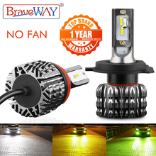 BraveWay 2PCS Fanless LED 자동차 전구 H1 H3 H4 H7 H8 H11 H27 9005 9006 HB3 BH4 자동 램프 12V LED 안개 조명 LED 자동차 헤드 라이트 키트