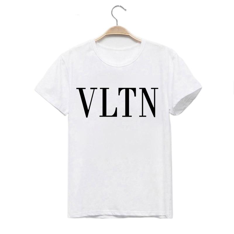 LUS LOS VLTN   Letter Print  T Shirts Short Sleeve Women Summer O-Neck Tops Tee Summer Female T Shirt White Tees Summer Casual T