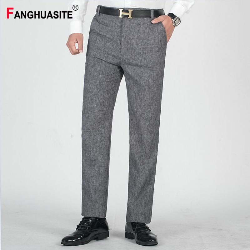 Men's Suit Pants Breathable Comfortable Fashion Solid Color Casual Pants 2020 Summer Thin Straight Business Dress Pants Men XK5