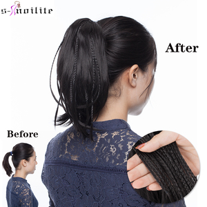 SNOILITE 12inch ponytail with braids claw clip in ponytail straight synthetic clip in hair extension Claw Ponytail for Women