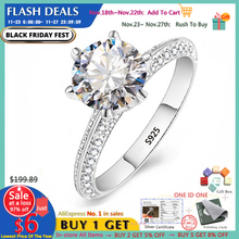 YANHUI Luxury 2.0ct Labเพชรหมั้นแหวนเดิม925เงินเครื่องประดับเจ้าสาวแต่งงานผู้หญิงคริสต์มาสของขวัญRX279
