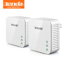 1 par Tenda P202 Mini 200Mbps adaptador Ethernet PowerLine PLC adaptador Compatible con Wifi Router IPTV macho y jugar(China)