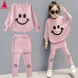 2020 meninas conjuntos de roupas primavera outono manga longa topos + calças 2 pçs treino crianças conjunto roupa 4 5 6 7 8 anos