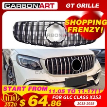 GLC X253 AMG style Front Racing Mesh Grill for MB X253 GLC200 GLC250 GLC300 GlC450 Sport Version Silver 2016+