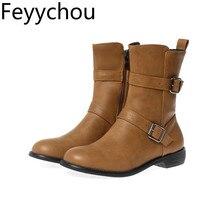 Женские ботинки Осень-зима, на низком каблуке, с круглым носком, на молнии, до середины икры, из плюша, из Pu искусственной кожи, г. Новые пикантные модные ботинки черный, винный, красный, большие размеры 34-46