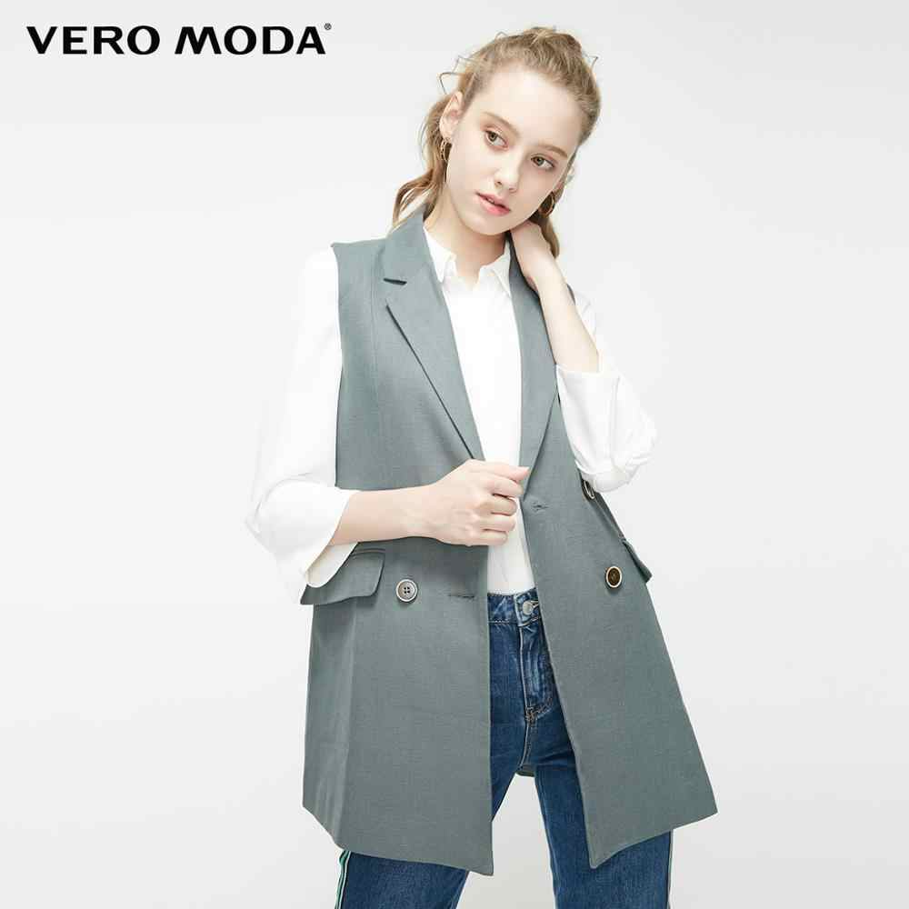 Vero Moda Women's Lapel Double-breasted Sleeveless Waistcoat | 319234502