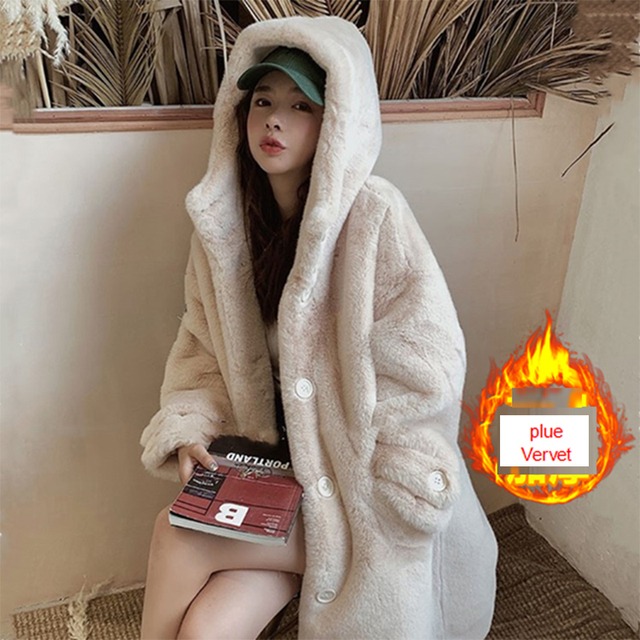ALABIFU Faux Fur Coat Women 2019 Casual Korea Hoodies Furry Thick Warm Long Faux Rabbit Fur Jacket  Loose Winter Coat Women