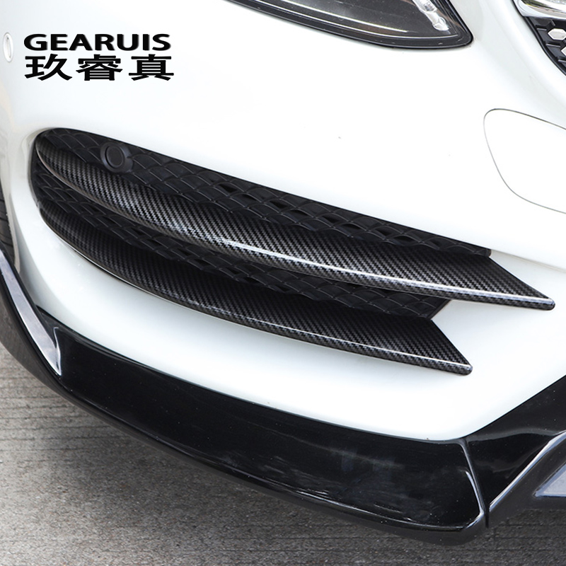 Car Styling For Mercedes Benz C Class W205 C180 C200 Head Fog Lamp Grille Slats Auto Lights Stickers Carbon Fiber Accessories