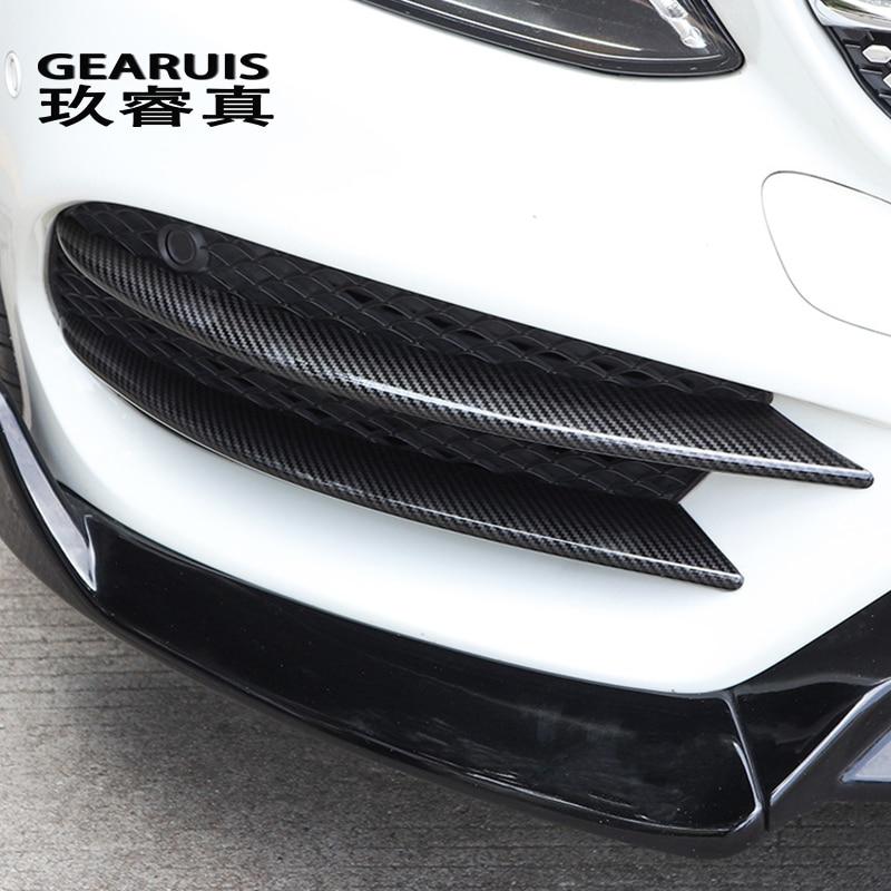 Car Styling For Mercedes Benz C Class W205 C180 C200 Head Fog Lamp Grille Slats Auto Lights Stickers Carbon Fiber Accessories