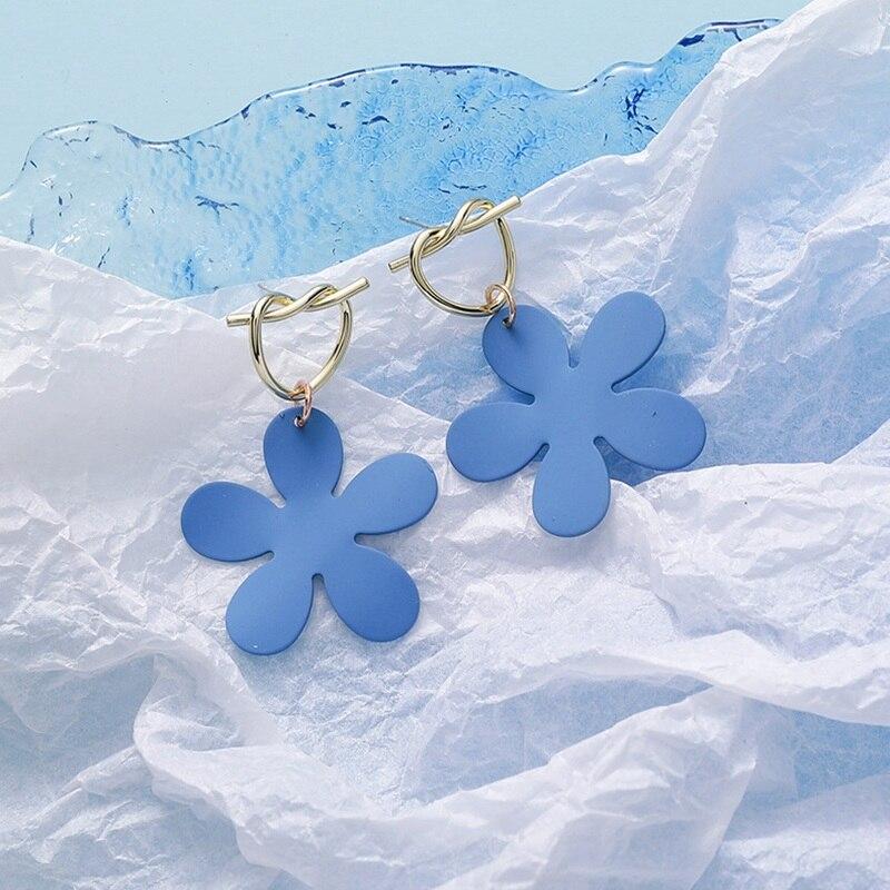 Женские Геометрические серьги mengjiqiao синие элегантные висячие