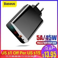 "Baseus 45W LCD תצוגת USB מטען עם טעינה מהירה 4.0 3.0 עבור Redmi הערה 7 QC3.0 פ""ד מהיר טלפון מטען עבור iPhone 11 Pro מקסימום"