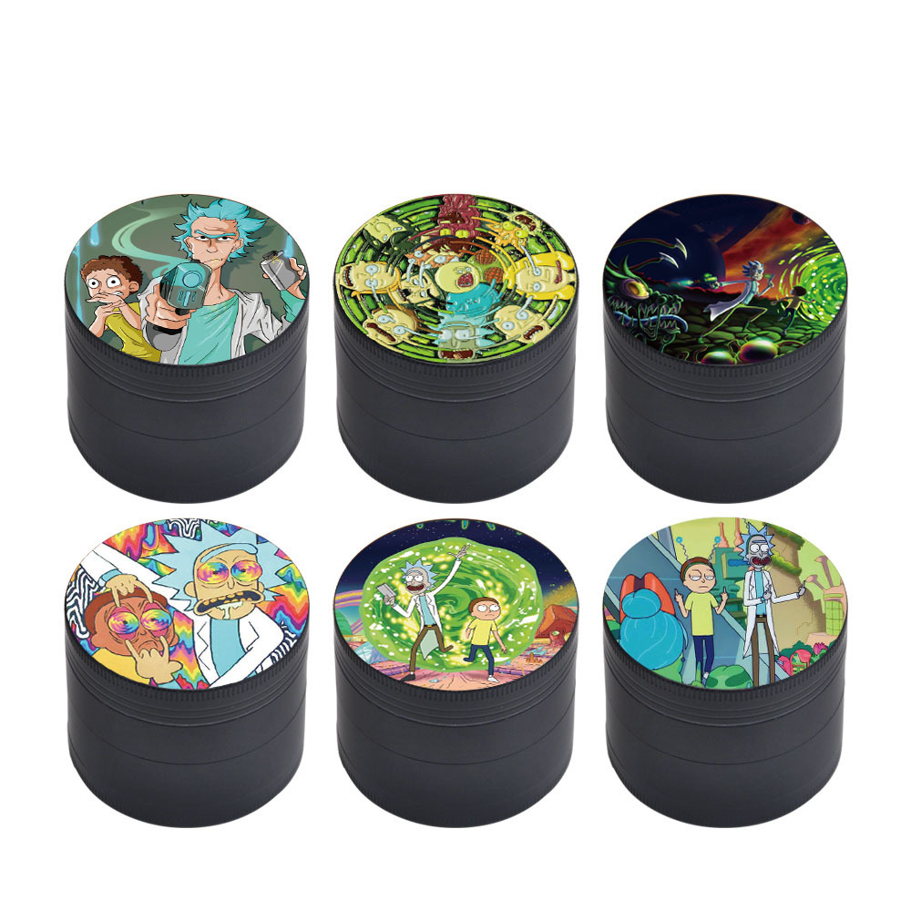 50MM Domed Sticker Rick and Morty Smoking grinder Zinc Alloy Metal Herb Grinder  4 Layers Tobacco Grinder Herb Crusher