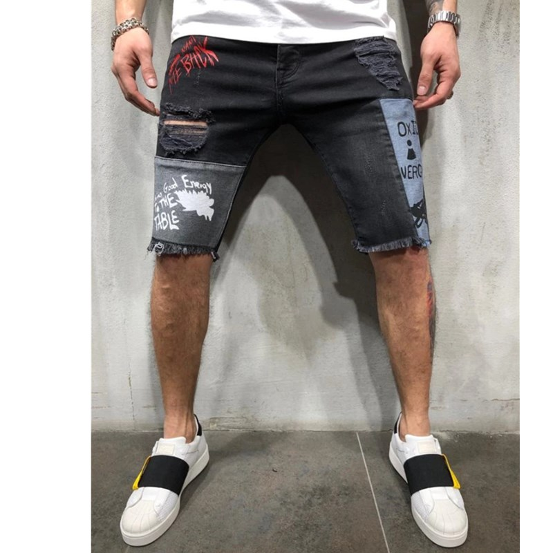 3 Styles Men Stretchy Ripped Skinny Biker Embroidery Print Jeans Shorts Hole Taped Slim Fit Denim Scratched Jeans Shorts