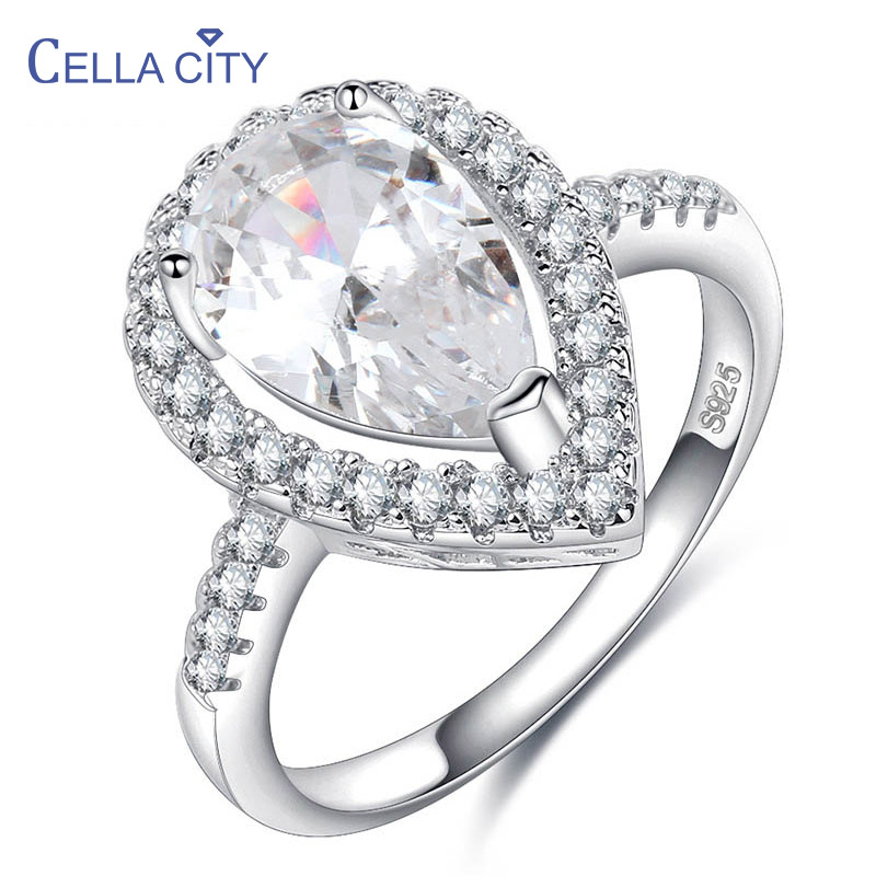 Cellacity Delicate Water Drop Shaped Silver 925 Jewelry Gemstones Ring for Women Size5,6,7,8,9,10 AAA Zircon Female Wedding Ring