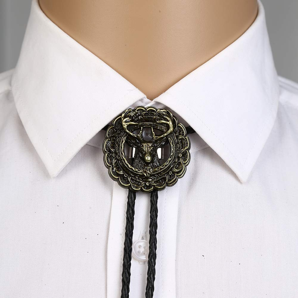3D Copper Deer Head Bolo Tie For Man Indian Cowboy Western Cowgirl Leather Rope Zinc Alloy Necktie