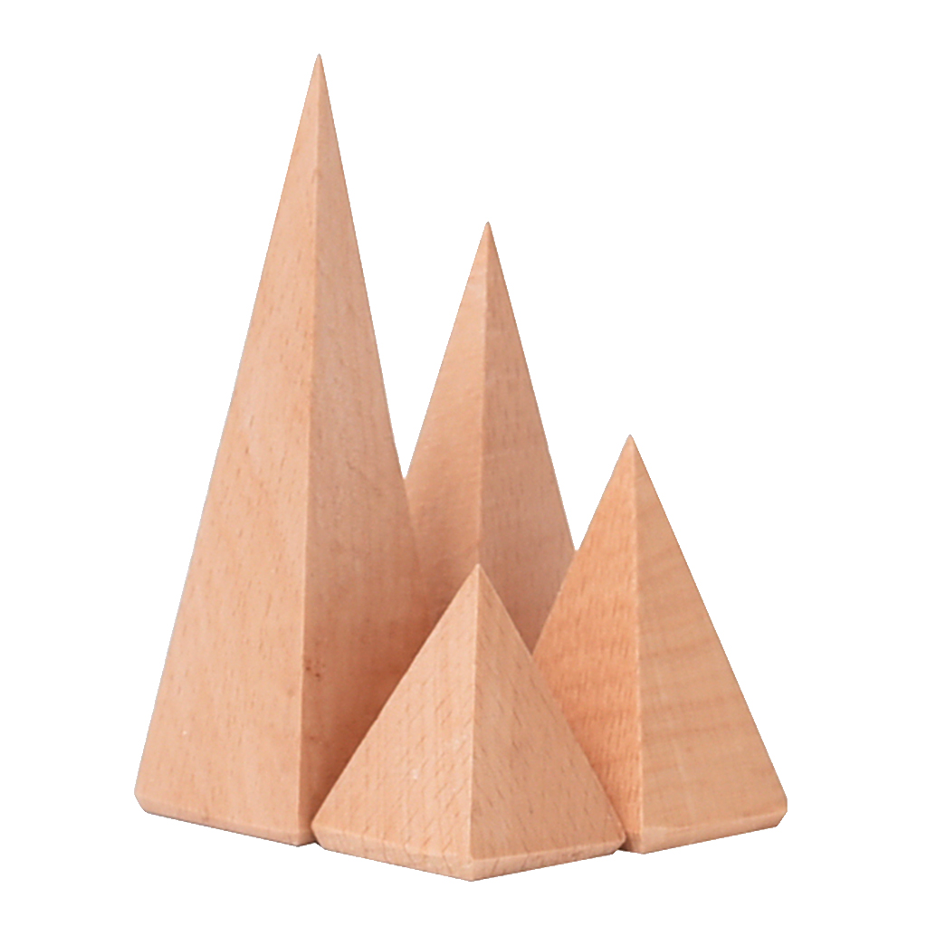 4 Pieces/Set Natural Wooden Ring Display Stand Organizer Holder Rack 3.6/5.5/7.5/9.7cm Assorted Size Pyramid Geometric