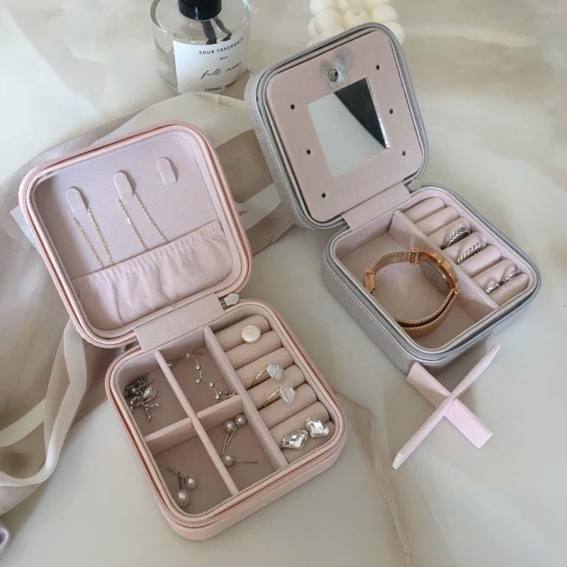 Minimalist Design Korean Jewelry Organizer Display Travel Jewelry Case Boxes PU Leather Zipper Storage Box T11680