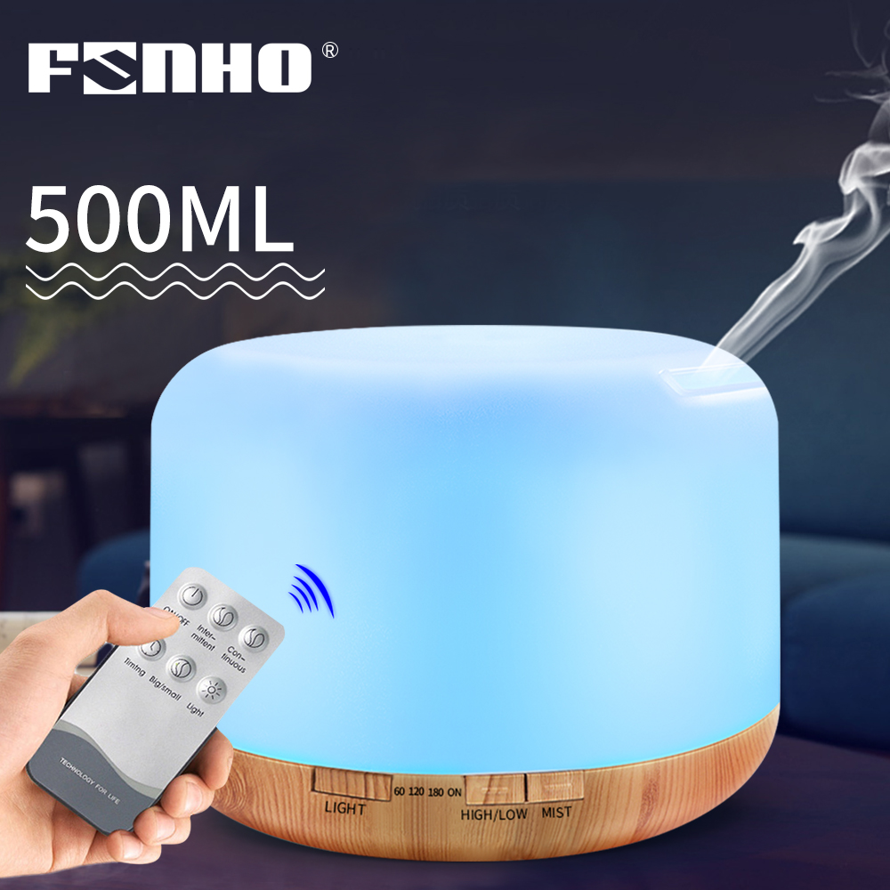 FUNHO 500ml Essential Oil Diffuser Remote Control Air Humidifier 7 LED Color Night Light Timing Humidification For Home Office