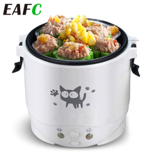 Ev/araba 1L elektrikli Mini pirinç ocak su gıda isıtıcı makinesi yemek kabı ısıtıcı 2 kişi için ev araba SUV kamyon