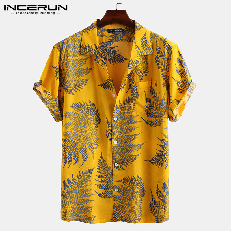 INCERUN Men Short Sleeve Lapel Printed Shirt Tropical Leaf Pattern Floral Shirt Casual Summer Hawaiian Holiday Camisa Tops S-5XL 1