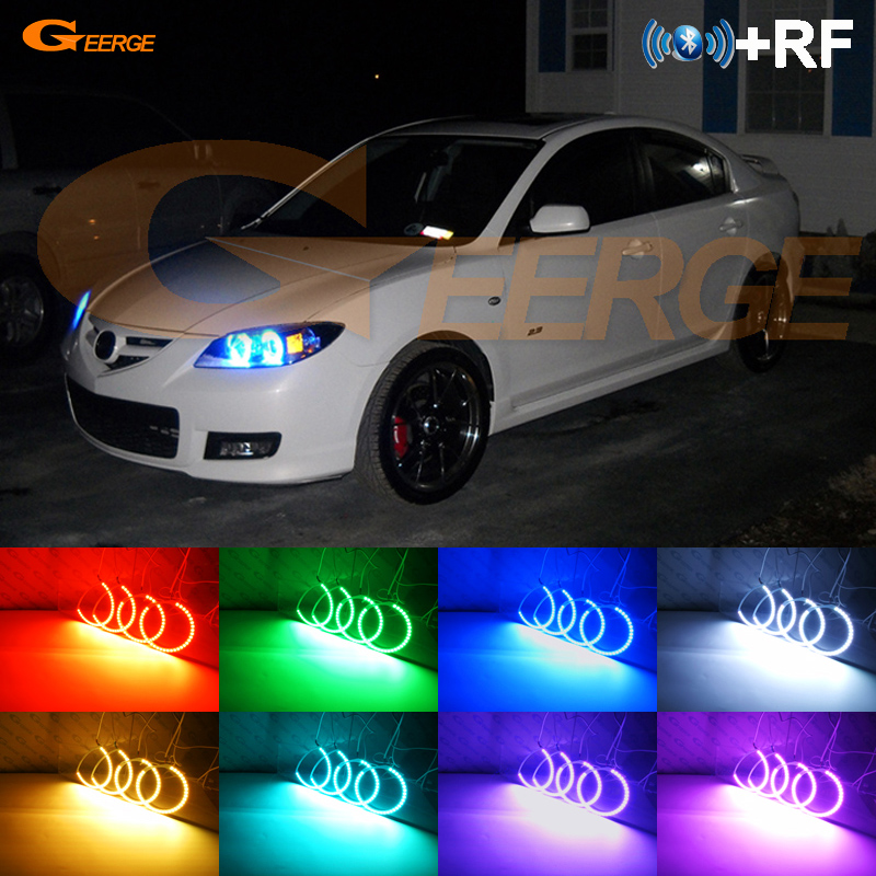 For <font><b>Mazda</b></font> <font><b>3</b></font> Speed Mazdaspeed BK 2007 2008 <font><b>2009</b></font> Excellent RF remote Bluetooth APP Multi-Color Ultra bright RGB LED Angel Eyes kit image