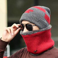 Europe and the United States autumn and winter plus velvet hat men's hat neck two pieces set block knitted ear guard men's hat