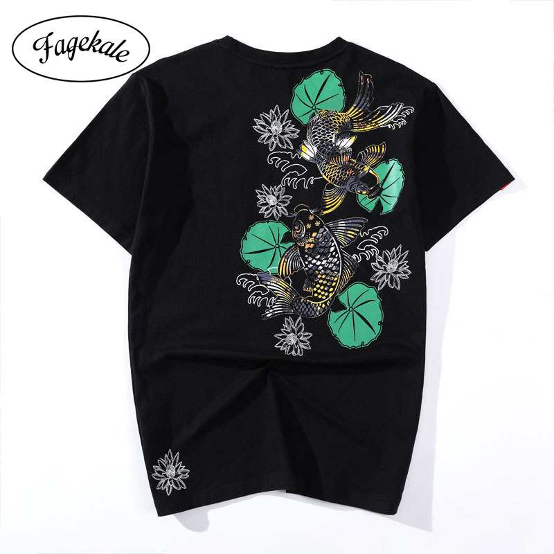 3D Printed T Shirts Koi Carps and Lotus Casual Mens Hipster Top Tees