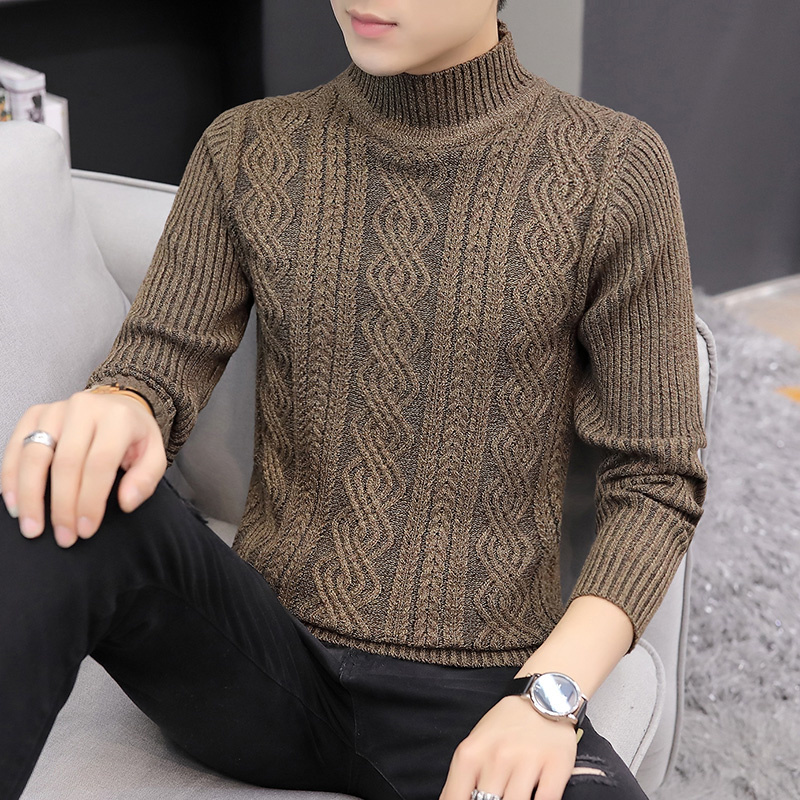 2019 Men Turtleneck Sweater New Autumn Winter Solid Color Sweater Casual Sweater Slim Fit Brand Simple Knitted Twist Pullovers