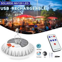 2 en 1 300W LED solaire Camping tente lumière télécommande Super lumineux soucoupe volante lumière utilisée pour la pêche en plein air travail d'urgence