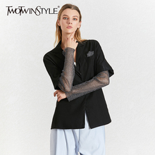 TWOTWINSTYLE Diamond Patchwork Womens Blazer Notched Collar Long Sleeve Summer Elegant Coats Female 2020 Fashion Clothes New