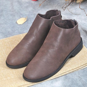 Black Coffee Retro Chelsea Ankle Boots Low Heels Casual Genuine Leather Autumn and Winter Handmade Women Boots Soft Simple Shoes