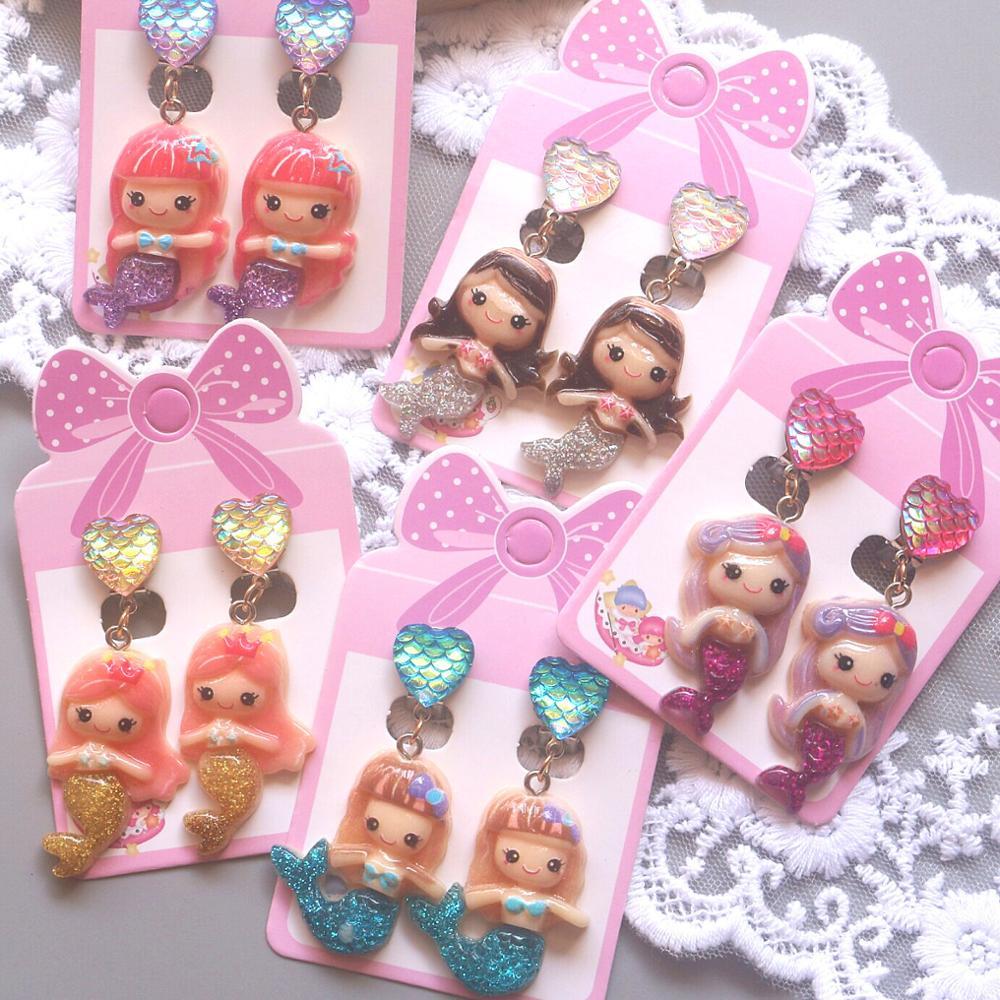 Серьги-клипсы «русалка» для девочек, красивые милые ювелирные украшения с изображением чешуи, животных, детские серьги-клипсы без проколов