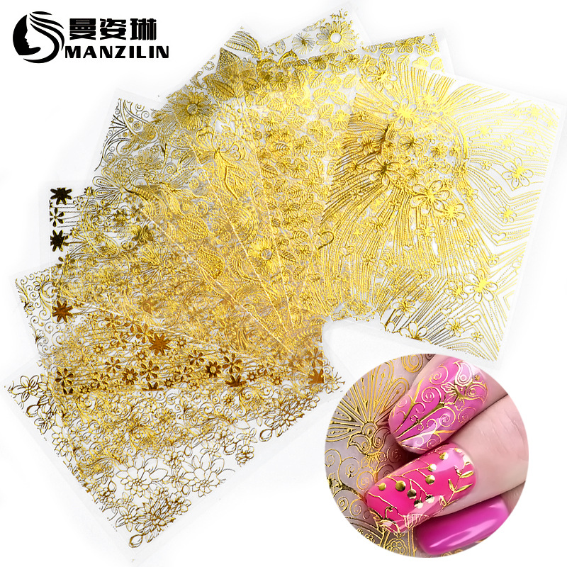 Hot Sales Gold-Tone Metal Nail Sticker Flower Stickers Gold Back Glue