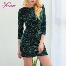 Женское облегающее платье с блестками, с круглым вырезом, с рукавом 3/4, с глубоким v-образным вырезом на спине, элегантные вечерние мини-платья, сексуальная клубная одежда, vestidos