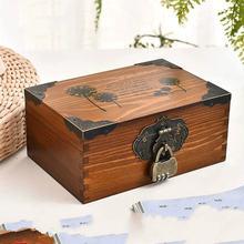 Китайский стиль деревянный ящик ретро органайзер коробка с замком