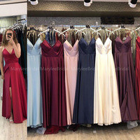 Simple Red Prom Dresses Long Spaghetti Straps A line Formal Party Gowns High Slit Burgundy Celebrity Dresses vestidos de gala