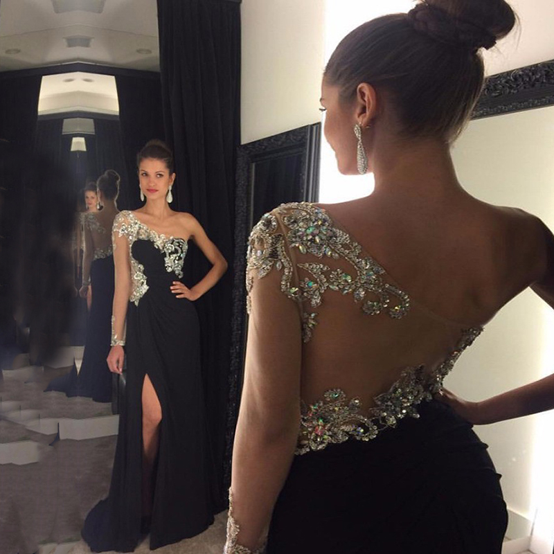 Crystals Prom Dresses One Shoulder Beaded with Rhinestones Long Sleeves Chiffon Side Split Evening Gowns for Party Black