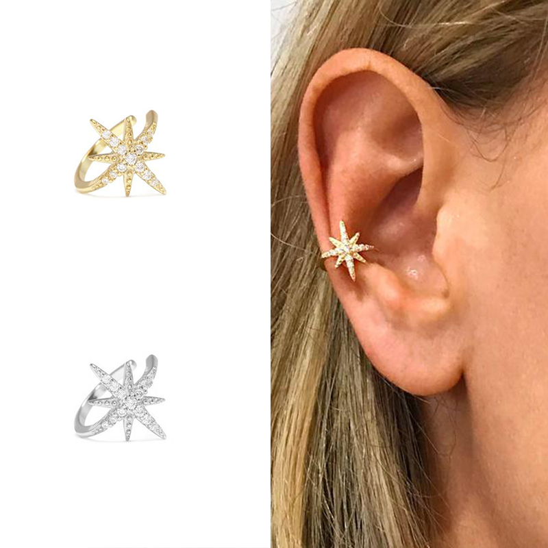 925 Sterling Silver Star Ear Cuff Micro Pave CZ Zircon Non Pierced Small Sized Girl Clip Earring Cuff Korean Earcuff Jewelry A30