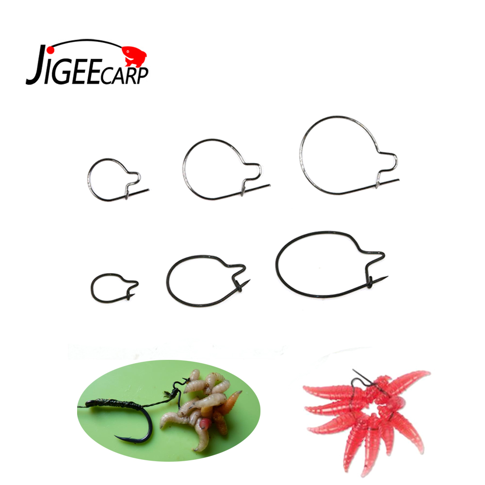 Hot 20pcs Carp Fishing Maggots Clip Tackle Bait Ring Hair Rigs Acceories Hook