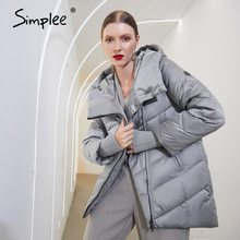 Puffer Jacket Coat Parkas Simplee Women Winter Short Hooded Female Cotton Fashion Ladies