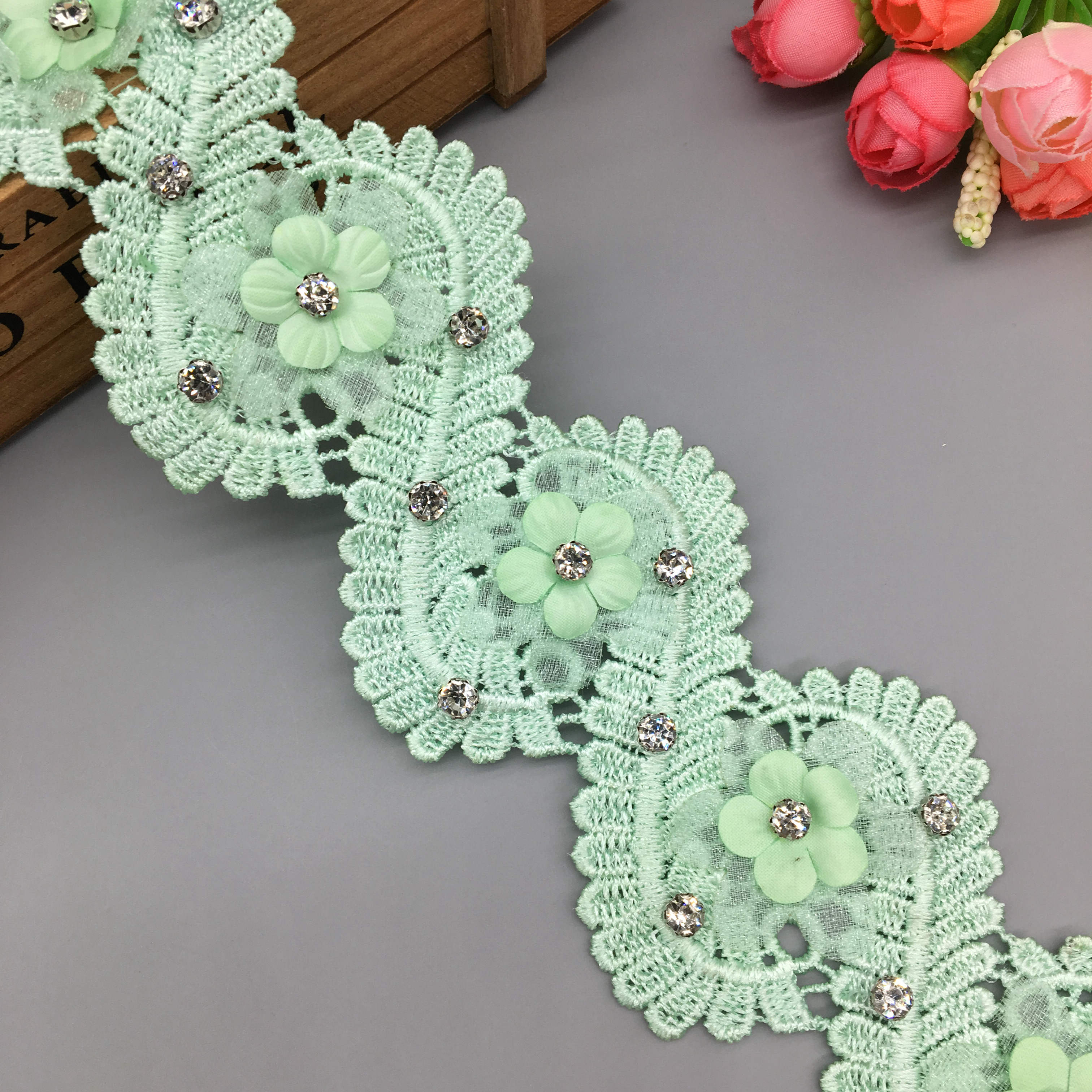 1 Yard Flower Embroidered Lace Trim Ribbon Wedding Applique Sewing Material