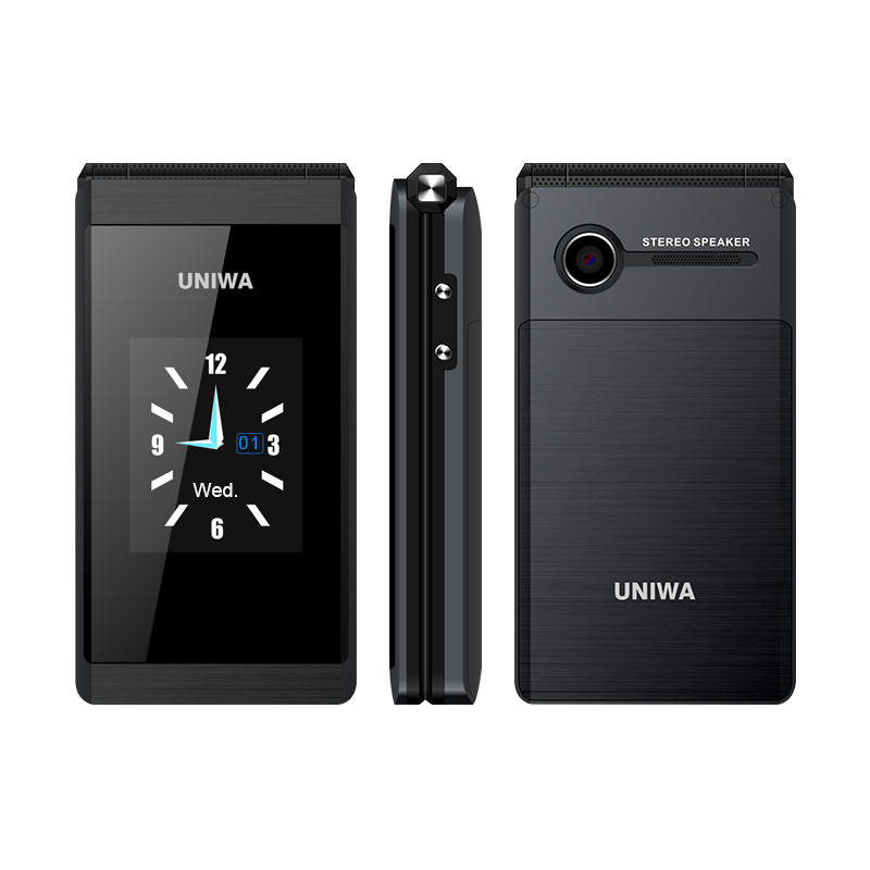 UNIWA X28 2G GSM Flip Phone 2.8 Inch Clamshell 1200mAh Cellphone Mobile Phone Big Fonts Big Button Dual SIM Card Rover X9