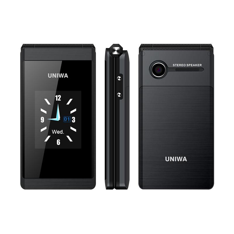 UNIWA X28 2G GSM Flip Phone 2.8 Inch Clamshell 1200mAh Cellphone Mobile Phone Big Fonts Big Button Dual SIM Card Rover X9