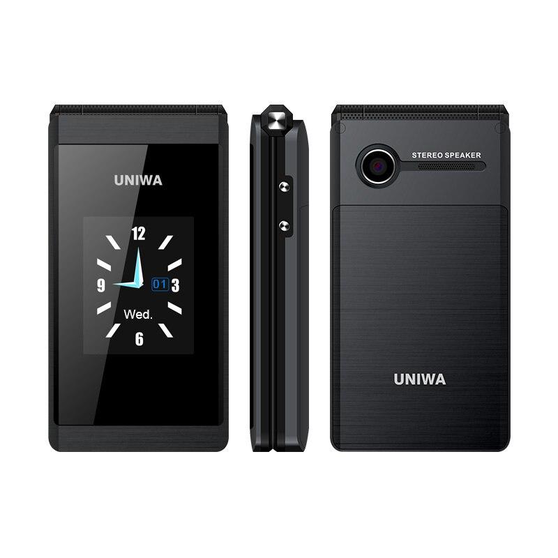 UNIWA X28 2G GSM Flip telefon 2.8 inç kapaklı 1200mAh cep telefonu cep telefonu büyük fontları büyük düğme çift SIM kart Rover X9